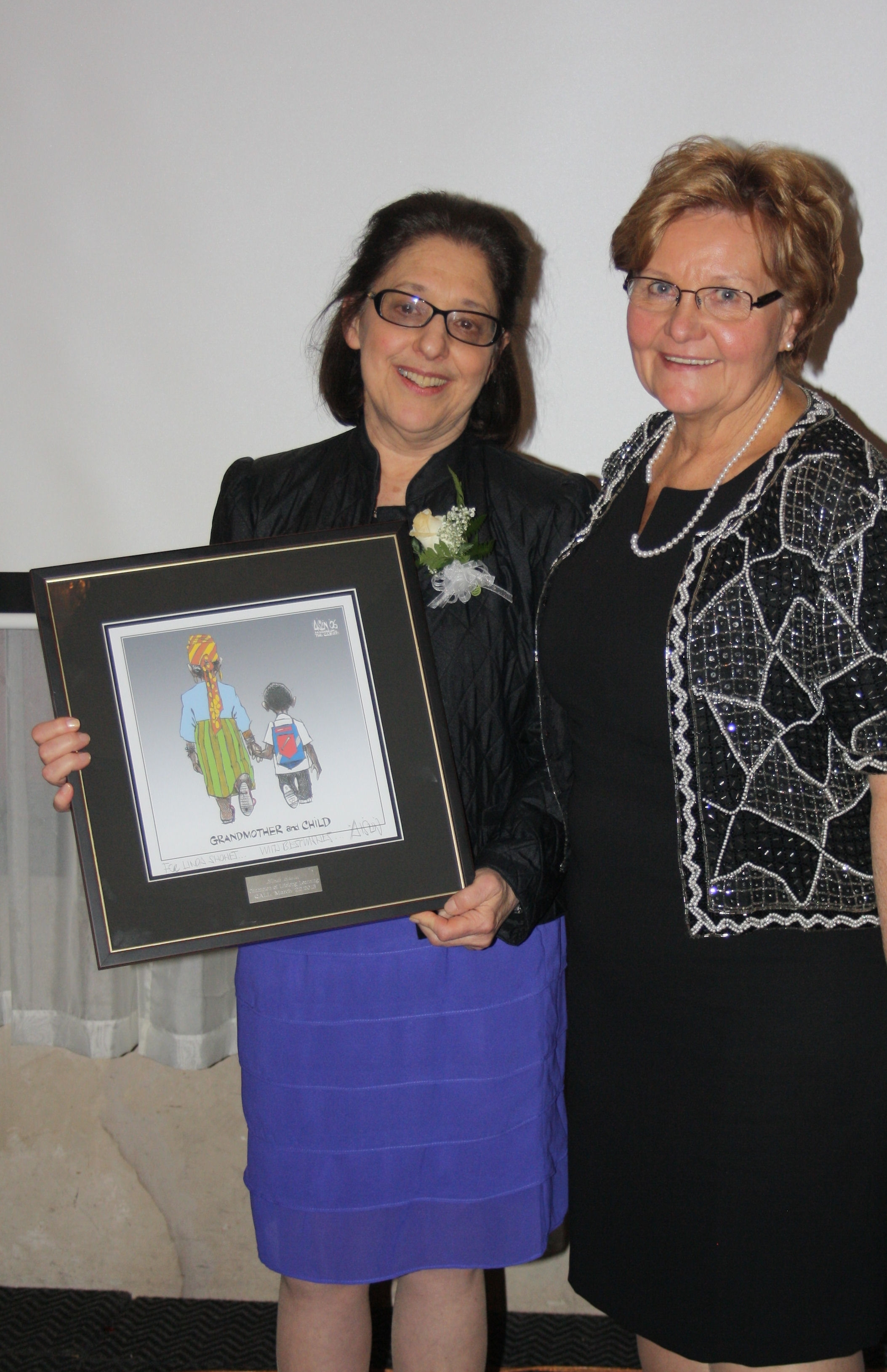 Linda Shohet with QALL President Ilze Epners at March 22 Gala for Champions of Lifelong Learning