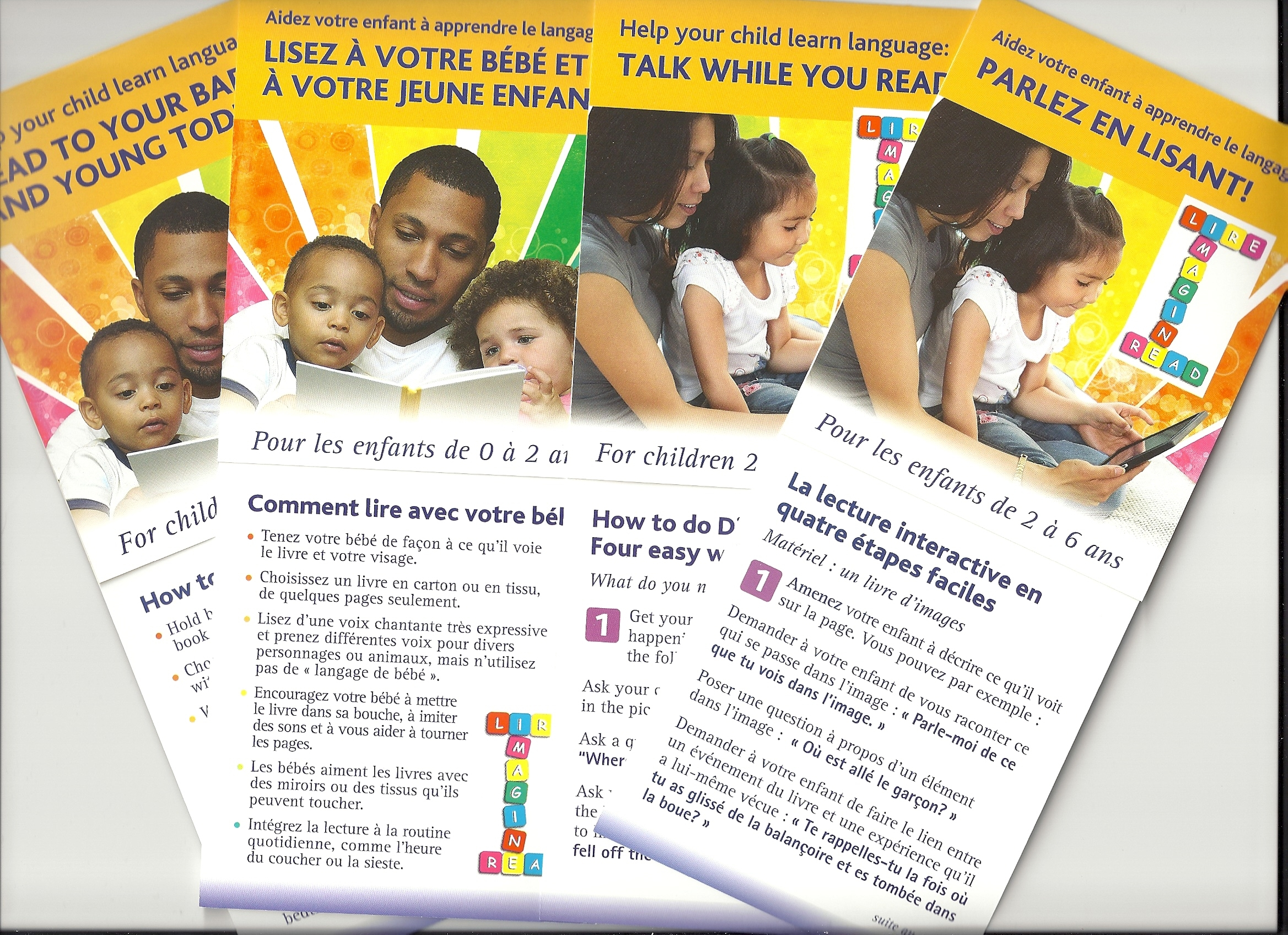 Brochures on reading and child development